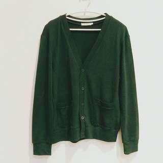 復古綠寬鬆版針織外套