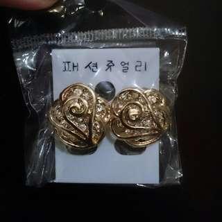 [全新]冰雪奇緣金邊白鑽耳環