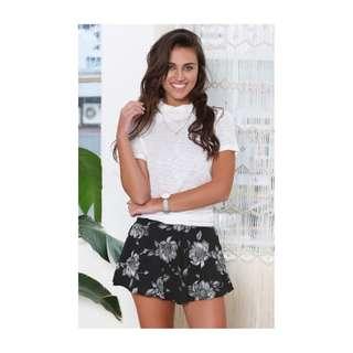 Black Flower Shorts Beginning Boutique