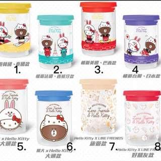 Line Friends & Hello Kitty 玻璃罐