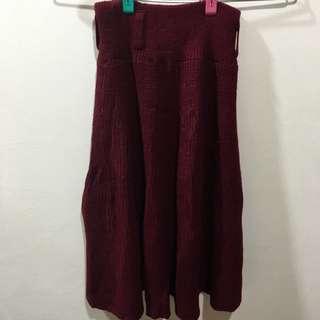 酒紅針織裙