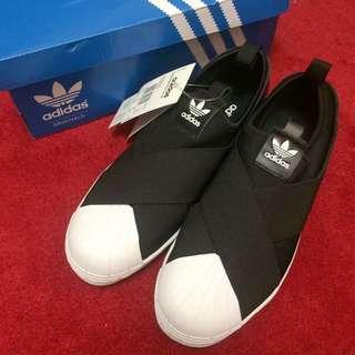 【現貨】Adidas Originals Superstar Slip On 黑色 交叉 繃帶 懶人鞋 100%正品代購