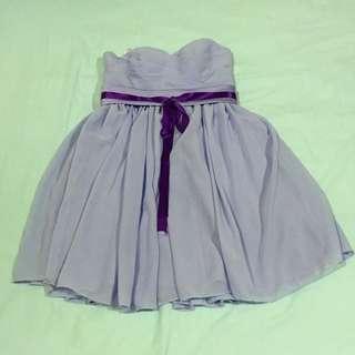 Lavender Chiffon Babydoll Dress With Padding