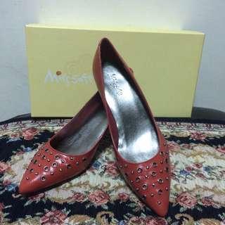 Miss Sofi 全新橘紅真皮低跟尖頭鞋