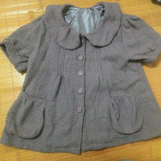 (含運390元)深灰色粉紅點點圓領冬季上衣/外套