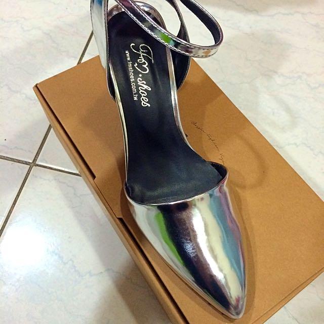 歐美簡約造型踝帶粗跟包鞋