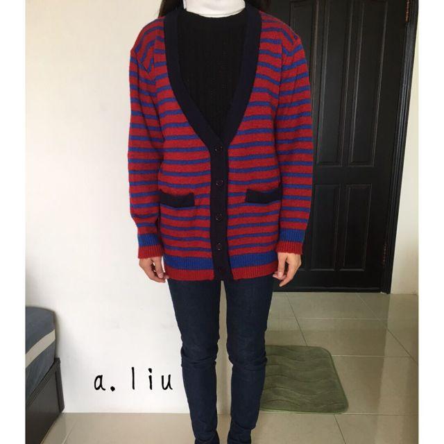 🚩藍紅針織條紋外套