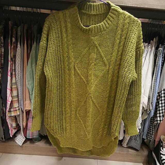 長版針織衣-芥末黃(綠