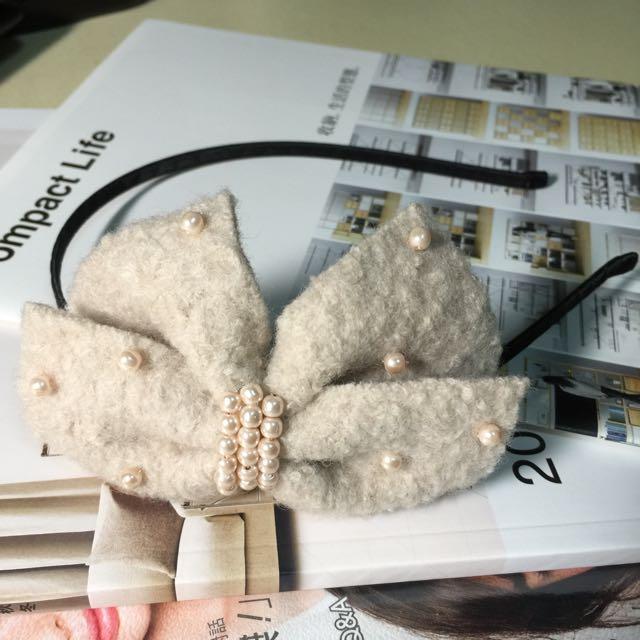 淡粉雙蝴蝶結珠珠髮箍