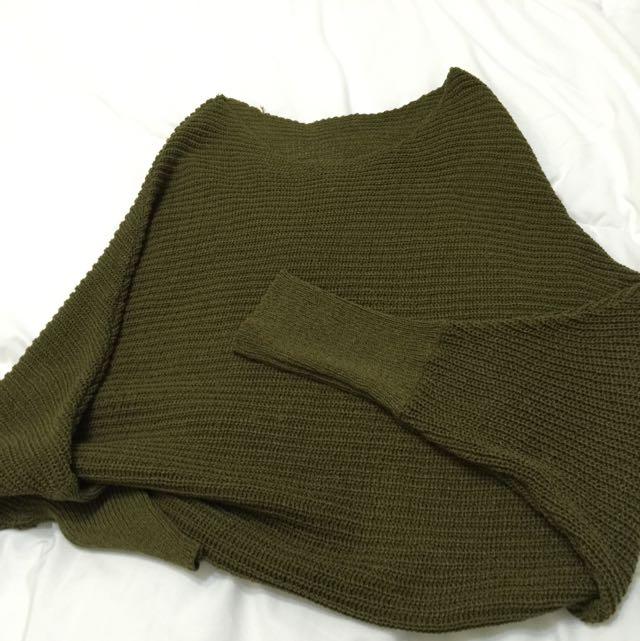 斜肩針織衫(九成九新)