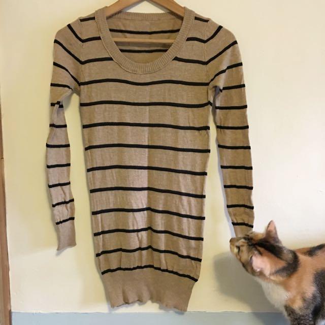 二手🔸針織 長版條紋上衣