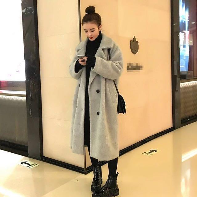 韓 淺灰質感大衣