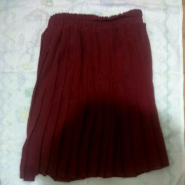 日本 百貨專櫃  深紅色 伸縮百摺褲裙