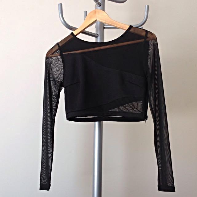 Black Sheer Sleeve Crop Top
