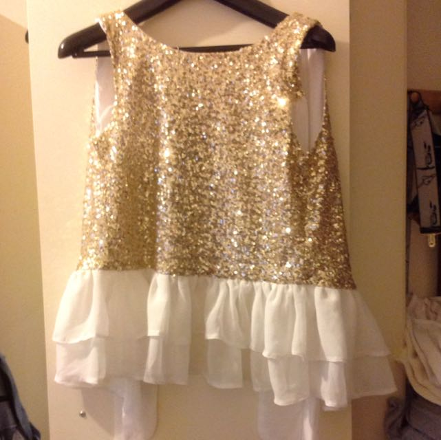 Gold Sparkly White Top