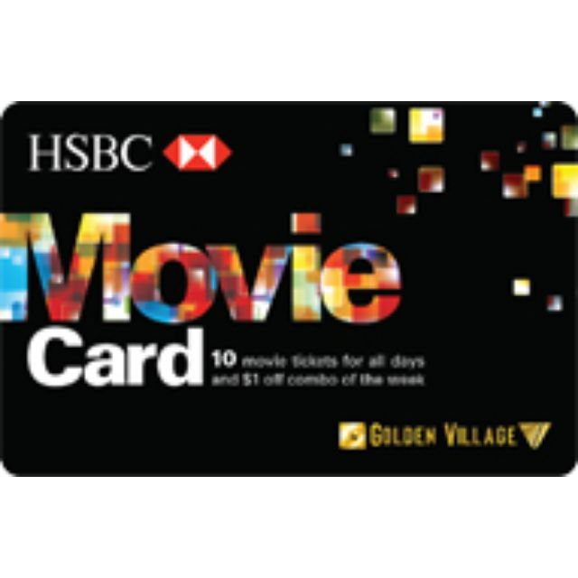 gv hsbc movie cards 8570 for 10 prepaid movie tickets