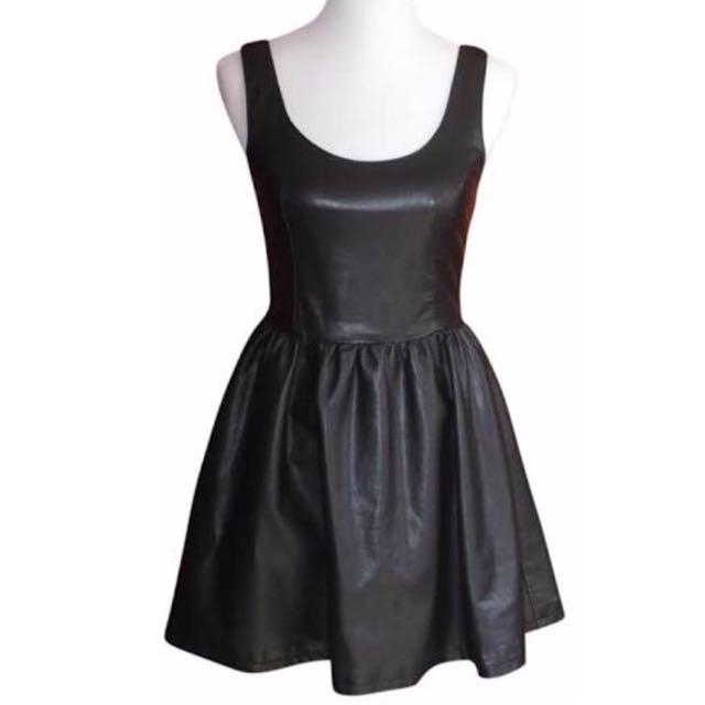 H M Black Faux Leather Skater Dress 626cdf9c6