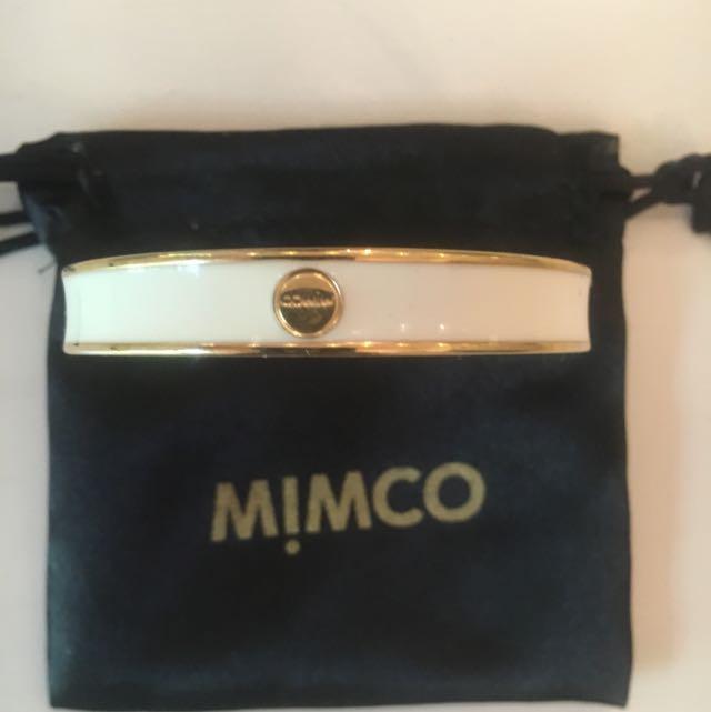 Mimco Narrow Enamel Bangle White & Gold