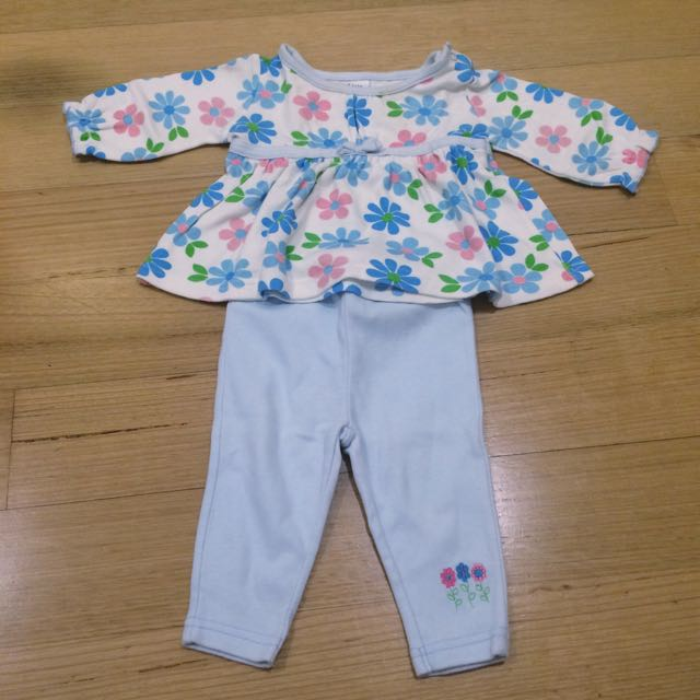 PL- Baby Blue Flower Top And Pants