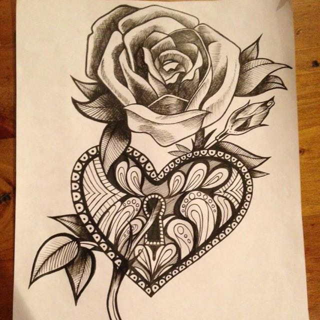 92c7f7b442607 Rose Heart Drawing/tattoo Design A4, Design & Craft on Carousell