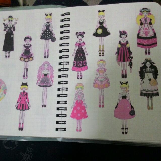 紙膠帶分裝-(ZEI)洋服少女 黑粉+藍紫套組