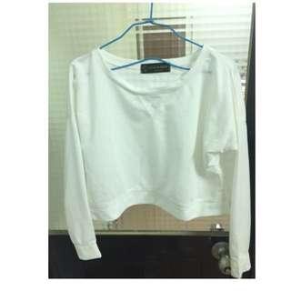 短版純白色上衣