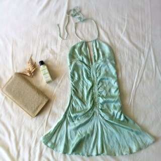 Pastel Mint Silk Dress SOLD