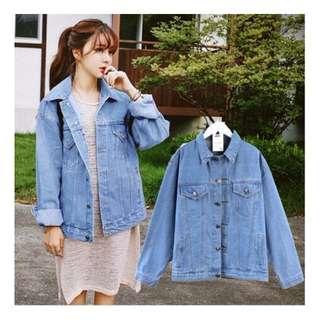 2/25春季新款韓版中長款牛仔外套BF風寬松牛仔衣