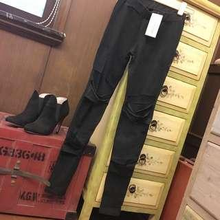 (韓) 黑色破壞造型內搭褲