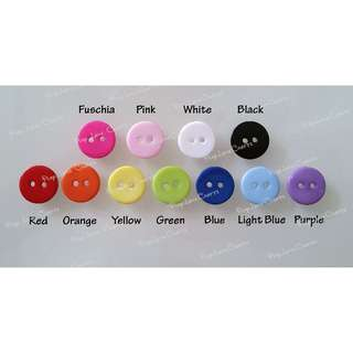 15mm Colourful Resin buttons (11 colours, 2 holes, flat back, nice colours)