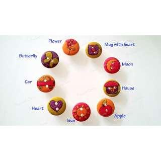 15mm Wood buttons (9 designs: Apple, Butterfly, Car, House, Moon, Flower, Heart, Mug, Sun)