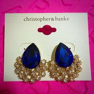 Christopher & Banks 水鑽藍寶石耳環 (晚宴,表演,舞蹈)
