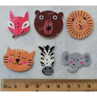 Set 4: Animal Wood buttons ( 6 + 3 new designs)