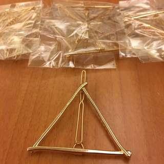 鏤空幾何造型一字髮夾(三角金)