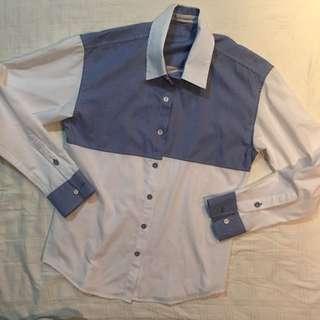 White Blue checkered M Shirt Cheap