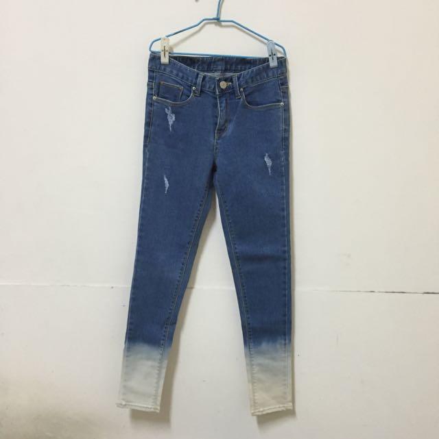 (附實穿)全新正韓25腰漸層牛仔褲