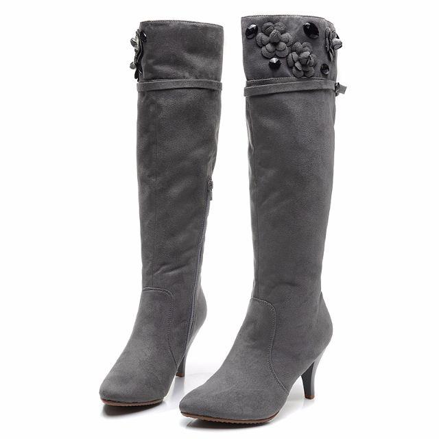 37(最後一雙) 34 35 36 立體花花時尚淺灰細高跟長靴 搭扣設計 拉鍊款 黑色(剩34) 預購7天