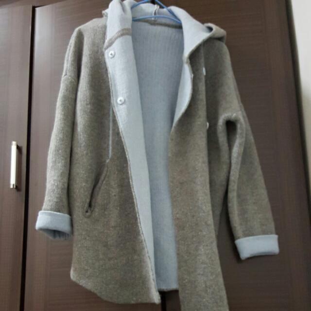雙色毛料外套
