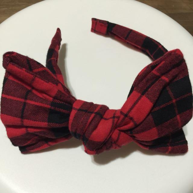 紅格子髮箍