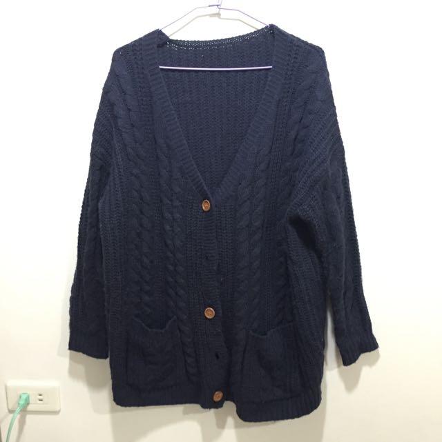 深藍色針織外套