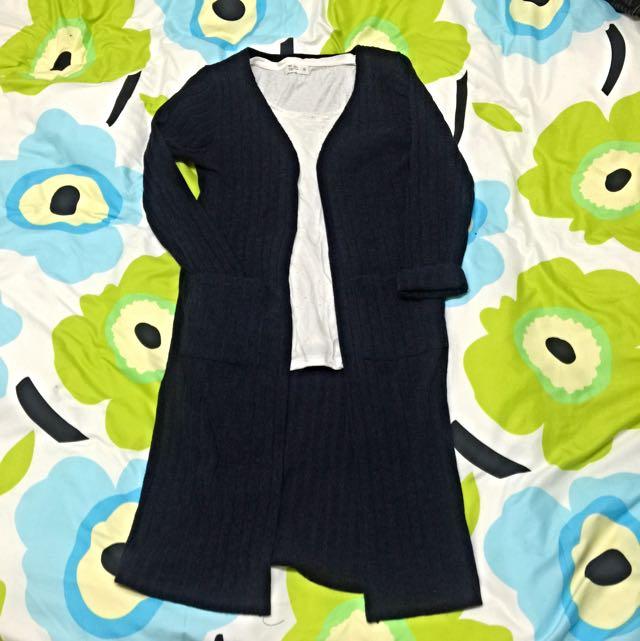 深藍色直羅紋長版罩衫