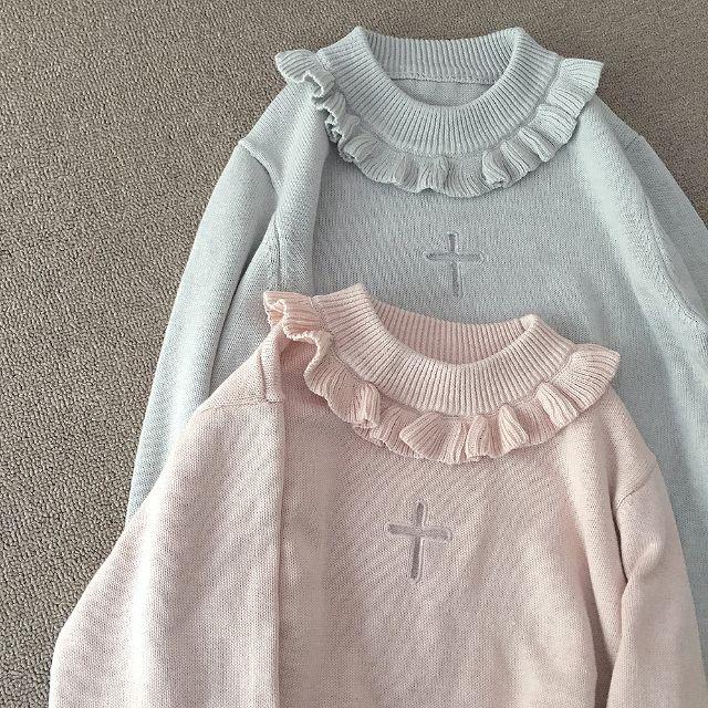 【預售】日系鏤空十字架荷葉邊毛衣