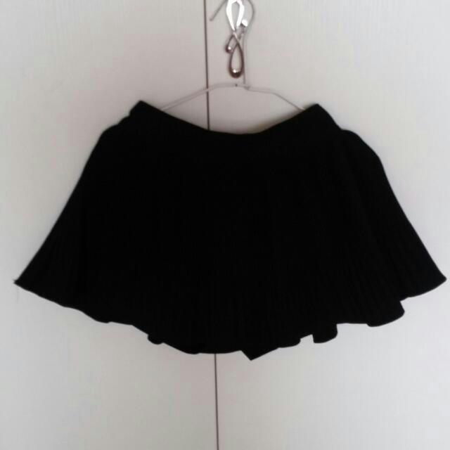 正韓貨-百摺黑色褲裙 -全新
