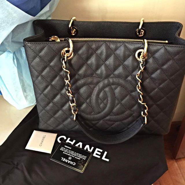 e7e76be1959d61 Brand New Chanel Black Grand Shopping Tote GST Gold Hardware GHW ...
