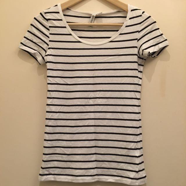 H&M短袖條紋上衣