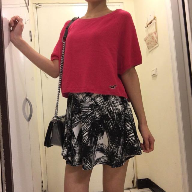 Hollister 粉紅毛線短上衣/全新