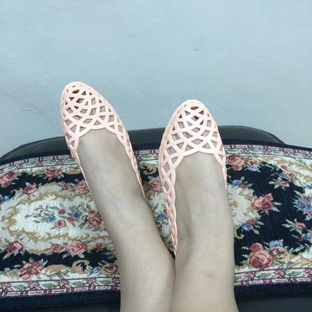 法國meduse 裸色優雅塑膠鞋