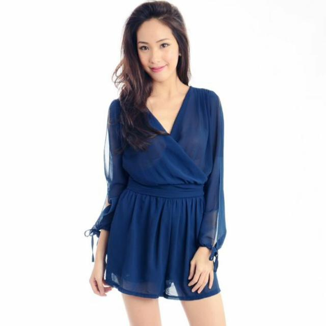 f41cfebf82f5 Purpur Navy Long Split Sleeve Romper  IDoTrades