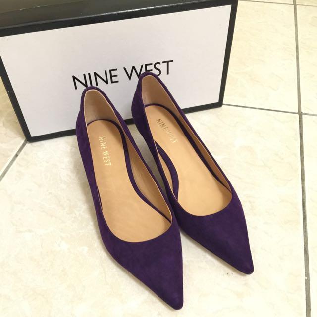 NINE WEST麂皮高跟鞋 紫色