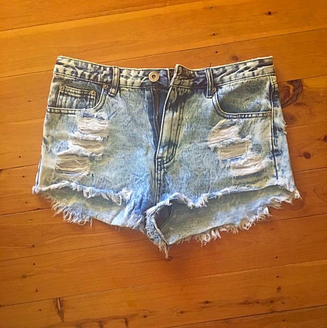 One Way Ripped Denim Shorts